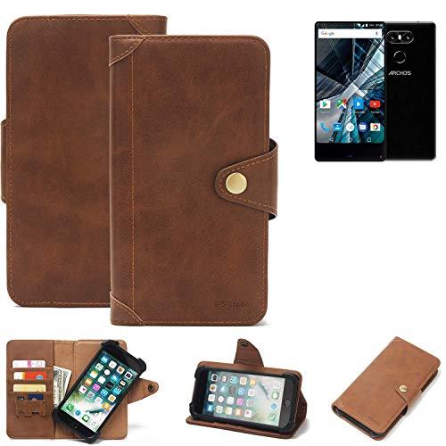 K-S-Trade Handy Hülle für Archos Sense 55 S Schutzhülle Walletcase Bookstyle Tasche Handyhülle Schutz Case Handytasche Wallet Flipcase Cover PU Braun (1x)