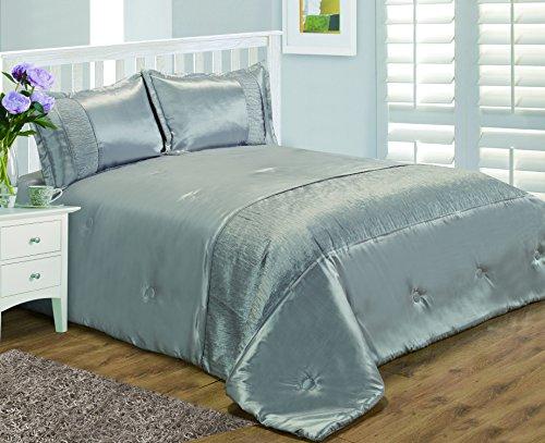 Doppelbett Serene Silber, Tagesdecke Set, von Ambiente, luxuriöse Kunstseide-Crinkle-Effekt Band, Überwurf Tagesdecke & Kissenbezüge, grau (Band Pintuck)