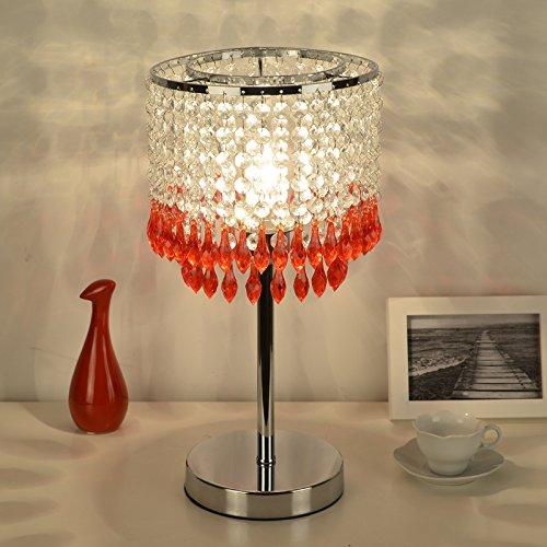 OLILEIO kreative Mode moderne Hochzeit Geschenke Hochzeit Dekoration Dekoration Schlafzimmer Nachttischlampe europäischen Kristall, Gules, Schalter