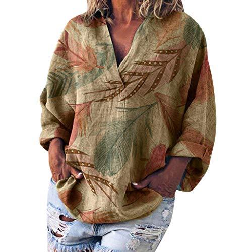 Goosuny Damen Shirts Langarm Tunika Print Oberteile Baggy V-Ausschnitt Sommershirt Blusen Langarmshirt Frauen Pullover Sommer Oversized Sweatshirt Blusenshirt -