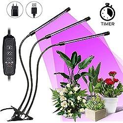 LED Pflanzenlampe SOLMORE 27W Grow Lampe Pflanzenlicht Pflanzenleuchte mit Timing Wachstumslampe, 360°Einstellbar Flexibles, 3 Modus, 10 Arten von Helligkeit, mit USB Adapter für Garten Zimmerpflanzen