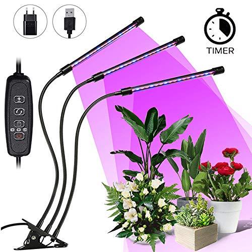 LED Pflanzenlampe SOLMORE 27W Grow Lampe Pflanzenlicht Pflanzenleuchte mit Timing Wachstumslampe,...