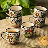 ExclusiveLane 'The Hut Morning Companions' Hand-Painted Ceramic Tea & Coffee Cups (Set Of 6) - Tea Cups Set Of 6 Tea Mugs Coffee Mugs Chai Glasses Ceramic Mugs Milk Mugs Tea Sets Tableware Coffee Cup Set Cups For Tea Tea Cups And Mugs Designer Cups Mu
