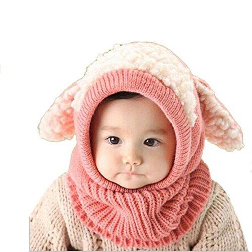 bluestercool-echarpe-casquettes-enfants-chapeaux-chauds-en-laine-de-coiffe-en-laine-rose