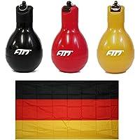 FTM Fan Set Deutschland, 3X Wizzball Handpfeife Schwarz, Rot, Gold, 1x Flagge Fahne 120 x 90 cm