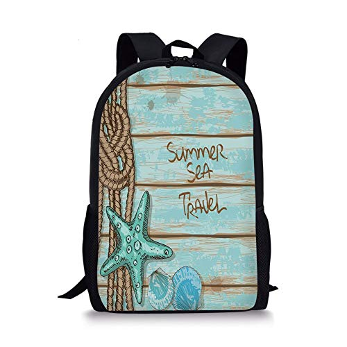 School Bags Starfish Decor,Summer Sea Travel Retro Boards of Ship Deck Rope Scallops Decorative,Brown Mint Green Turquoise for Boys&Girls Mens Sport Daypack Brown Scallop