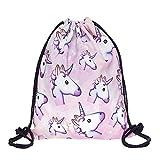 Leah's fashion sacca per sport, spiaggia, tempo libero, unisex, con motivo a unicorno, misure 32x 40x 2cm, unicorn, 32 x 40 x 2 cm