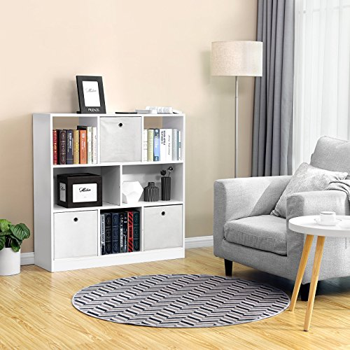 VASAGLE Bücherregal, Raumteiler Regal, Standregal aus Holz mit ...