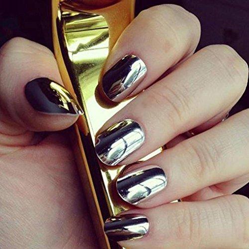 Ouneed® Or Chrome Poudre Paillete Fond de Ongles Miroir Decor