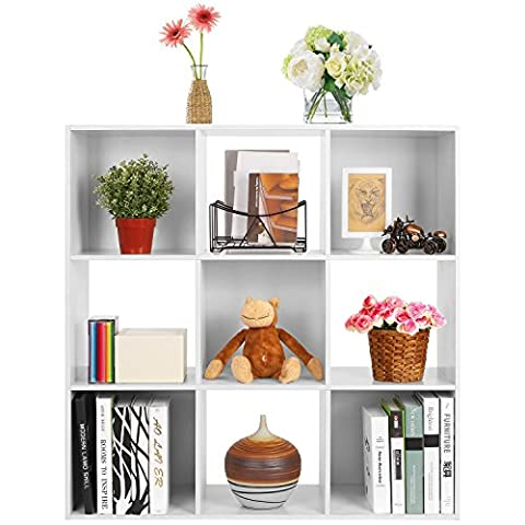 HOMFA 9 Cube Display Cabinet 3 Tier Bookcase Storage Cube Closet Display Organizer Shelf 91.5 x 91.5 x