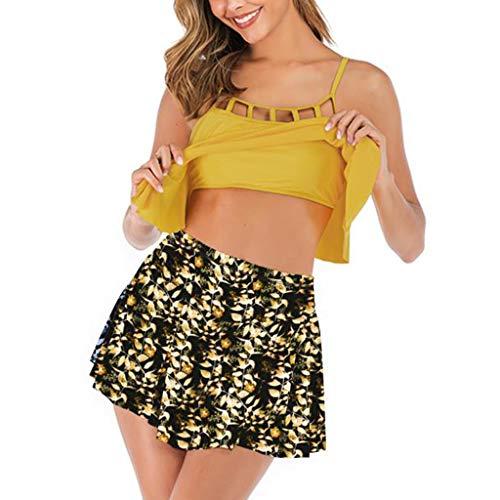 Smony - Women's Swimwear Damen Bikini-Set gelb gelb UK 12-14 - Länge Plus Bademode Größe