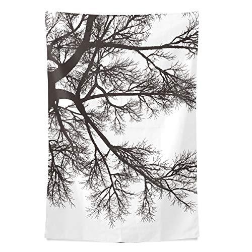 Schwarze Skizze Entwurf Baum Wandteppich Wandbehang Cool Post Print für Wohnheim Home Wohnzimmer Schlafzimmer Tagesdecke Picknick Bettlaken 80 X 60 Zoll -