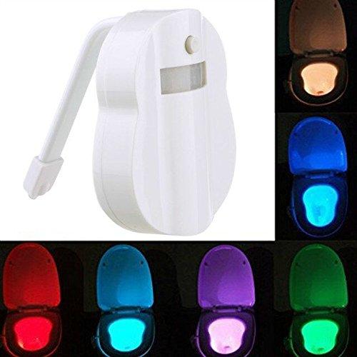 NHSunray 1W LED igienici della luce di notte del sensore di movimento attivato 8-Color modifiche, (Notte Bagno Luce Decor)