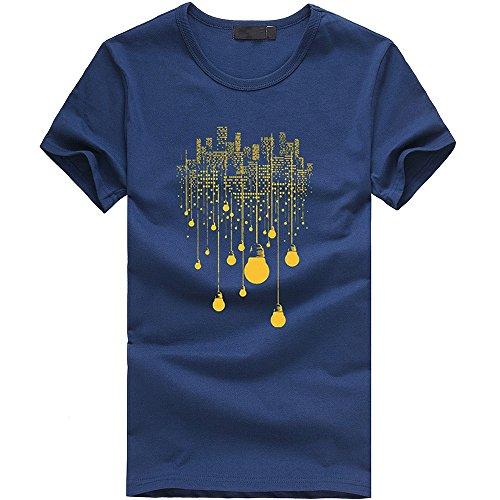 IMJONO Jubiläumsfeier Männer T-Shirt Tops Männer Junge Plus Size Print Tees Kurzarm Baumwolle T Shirt Bluse Tops NY M(Medium,Marine)