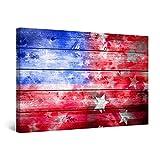 Startonight Bilder Amerikanische Flagge Abstrakt, Leinwandbilder Moderne Kunst, Rot Wanddeko Kunstdrucke, Wandbilder 60 x 90 cm, Tag Nacht Bild