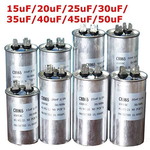 XBaofu, Condensatore di avviamento del compressore del condensatore del condensatore del Motore CA da 450 V Condensatore di Avvio CBB65 15uF 20uF 25uF 30uF 35uF 40uF 45uF 50uF Aria condizionata
