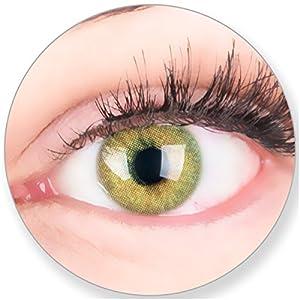 Glamlens Kontaktlinsen farbig grün ohne und mit Stärke – mit Kontaktlinsenbehälter. Sehr stark deckende natürliche grüne farbige Monatslinsen Lindgrün 1 Paar weich Silikon Hydrogel
