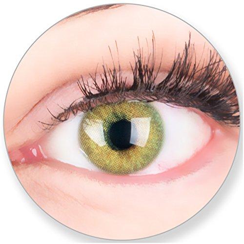Glamlens Kontaktlinsen farbig grün ohne und mit Stärke - mit Kontaktlinsenbehälter. Sehr stark deckende natürliche grüne farbige Monatslinsen Lindgrün 1 Paar weich Silikon Hydrogel0.0 Dioptrien