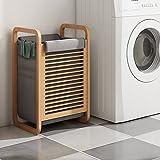 ODT Bambus Wäschekorb platzsparend Wäscheregal Grau ODT-SH70LCB001-GRA