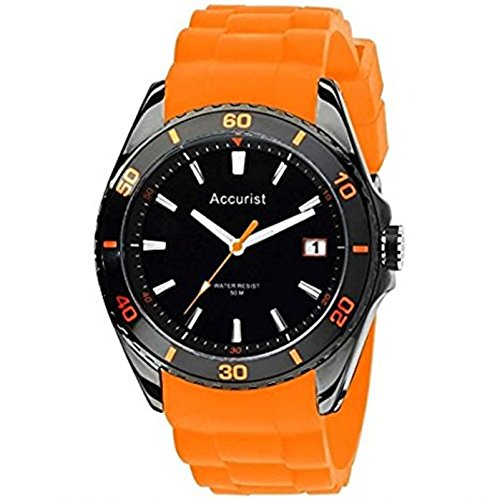 Accurist Men's Quartz Watch with Black Dial Analogue Display and Orange Silicone Strap MS761OB.01