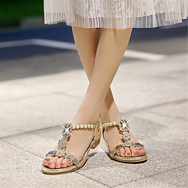 LvYuan Damen-Sandalen-Kleid Lässig-Glanz maßgeschneiderte Werkstoffe-Niedriger Absatz-Andere Neuheit Club-Schuhe-Silber Gold Gold