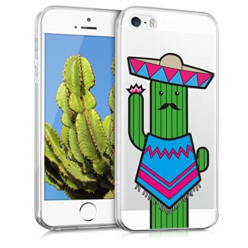 kwmobile Housse miroir pour Apple iPhone SE / 5 / 5S Étui TPU en silicone cover portable, housse de protection en or rose miroitant Cactus moustache IMD bleu vert transparent