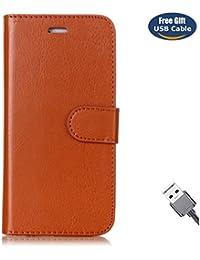 Funda Galaxy S7 Edge,Funda Cover Galaxy S7 Edge,Aireratze Slim Case de Estilo Billetera Carcasa Libro de Cuero,Carcasa PU Leather Con TPU Silicona Color básico [Imán versátil versátil de la caja de diseño 2 en 1] Case Interna Suave [Función de Soporte] [Ranuras para Tarjetas y Billetera] [Cierre Magnético] para Samsung Galaxy S7 Edge (marrón) (+ Cable USB)