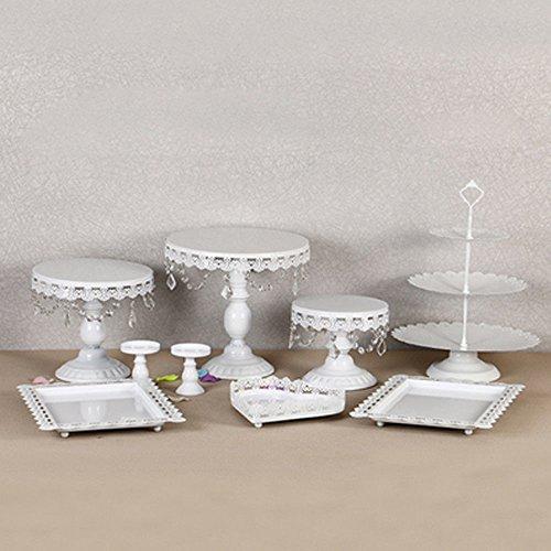 prit 9PC Tortenständer Vintage Kristall Kuchenteller Tortenplatte Kuchenplatte Metal