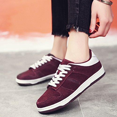 Hwf Zapatos De Mujer Zapatos Con Placa De Primavera Zapatos Casuales Zapatos De Mujer Zapatillas De Estudiante (color: Negro, Talla: 40) Vino Tinto