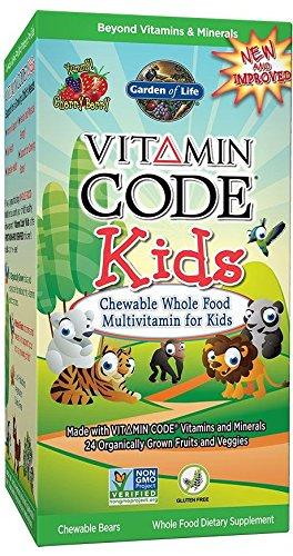 Garden of Life - Code Vitamine - pour Enfants - Aliments Entiers Multivitaminés à croquer pour Enfants - Goût Cerise - 30 ours à croquer