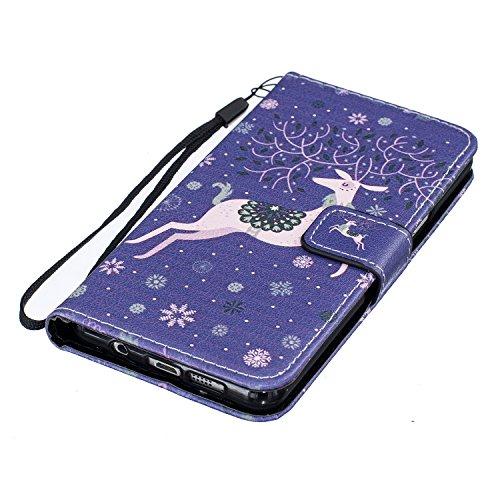 Custodia Galaxy S7, Samung S7 Cover, Galaxy S7 Flip Cover, Custodia Samsung Galaxy S7 Cover, Cozy Hut Retro Modello di disegno del fumetto Design Con Cinturino da Polso Magnetico Snap-on Book style In neve Deer
