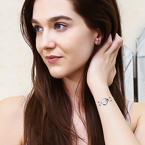ETEVON Frauen Quarz Silber Armbanduhr mit Kleine Crystal Zifferblatt und Hohlen Armband Wasserdicht Lässig Einfache Verkleiden Armbanduhren für Damen - 5