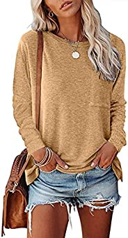 VIDUSSA Women's Long Sleeve Shirts Casual Crewneck Tops Solid Color Pullover Sweatshirts with Po