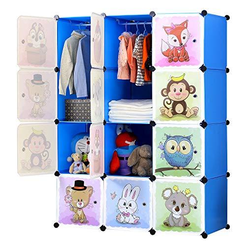 BRIAN & DANY Meuble Rangement Enfant avec Motifs d'animaux, Support de Rangement, Armoires Etagères Plastiques, Armoire de Rangement Bricolage (Bleu, 12 Cubes)