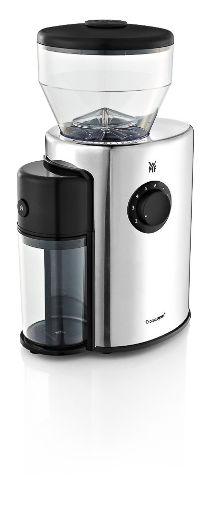 WMF SKYLINE Kaffeemühle, Esspressomühle, elektrisch, Kegelmahlwerk aus Stahl, 12-stufiger Mahlgrad, 2-10 Tassen, 150 Watt