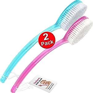 SPAZZOLA DA BAGNO E DOCCIA TOPNOTCH - Spazzole per corpo di alta qualità con manico lungo, 1 rosa e 1 blu