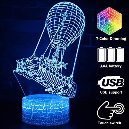 Fortress 3D Nachtlicht Games-Serie 7 Farben wechselbare Tischlampe mit berührungsempfindlicher Funktion, USB-Kabel, Craquelé-Basis Modern Crack Battle Bus (Vedio Chat)
