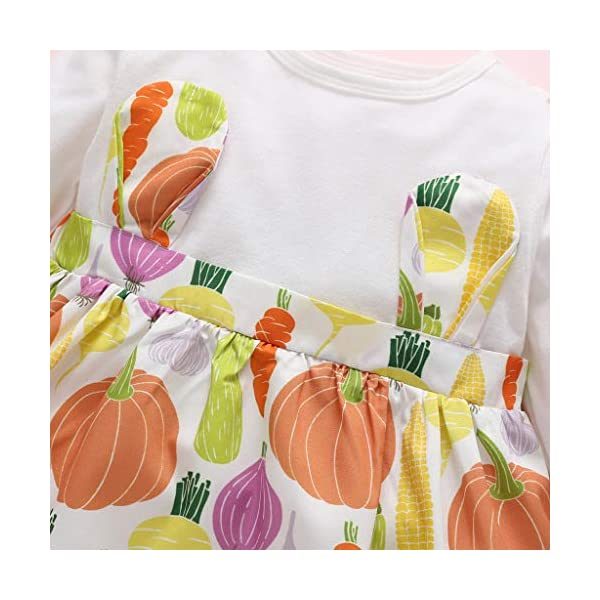 Heetey - Conjunto de Ropa y Abrigo para niña, de Manga Larga, con Estampado de Frutas, Vestido de Princesa, de una Pieza… 4