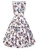 1950er vintage audrey hepburn kleid blumenkleid damen kleider swing dress Größe M BP002-27