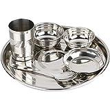 SPM Stainless Steel 6 Piece Dinner Thali Set|1 Dinner Plate 2 Bowl 1 Rice Plate 1 Glass & 1 Spoon|Home, Hotel Restaurant