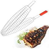Dhayni e store Mesh Iron Fish Roast Grill Barbecue Grilling Basket Camping Grill Rack BBQ Clip Holder