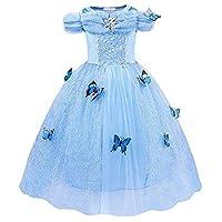 Gauze Tutu Summer Sweet Princess Dress Cinderella Costume Dress Princess Girls Birthday Party Cosplay Outfit,Age:8-9 Years
