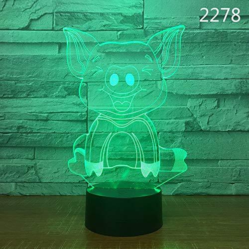 Sproud Long eared pig Lavaboden + bunte Note 3D optische Täuschung |Farbe ändern Schreibtisch Tischleuchte Lampe |Smart Home Night Lights Weihnachtsgeschenk