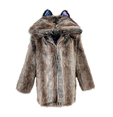Yuandian donna inverno lungo pelliccia sintetica cappotti con cappuccio baggy morbido caldo elegante cappello dell'orecchio finta pellicce ecologica giubbotto striscia gradiente colore 3xl