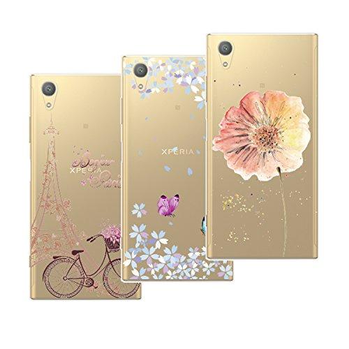 Yokata Kompatibel mit Sony Xperia XA1 Plus Hülle Silikon Transparent Durchsichtig Handyhülle Schutzhülle TPU Dünn Slim Kratzfest mit Motiv [3 Pack] - Turm Fahrrad + Blumen Schmetterlinge + Blumen