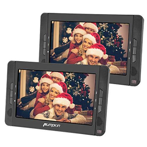 Pumpkin Lecteur DVD Portable Voiture pour Enfant 2 ecrans d'appuie-tête 10.1 Pouce supporte Region Libre USB SD MMC Autonomie de 5 Heures avec Etui de Montage dans Voiture (Deux Lecteur DVD)
