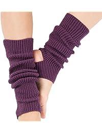 Tukistore Mujeres Chicas Calcetines Largos de Yoga Largos Calcetines Deportivos de Ganchillo Cubierta de Botas croché Calcetines Largos de Arranque para Danza, Yoga, Pilates y Fitness