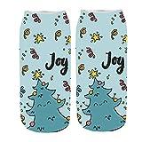 ZZBO Unisex Weihnachtssocken Niedliche Söckchen 3D Funny Christmas Gedruckt Sneaker Socken Casual Halbsocken Mode Fußkettchen Socken Lustige Niedrige Knöchel Socken Lässige Socken Mann Frau