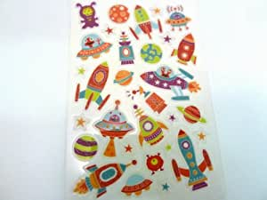 Spaceship , Rocket & Alien Stickers - Kids / Childrens Labels for party bags , scrap books , card making or notebook decoration