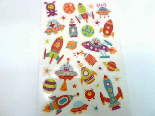 Minilabel Spaceship , Rocket & Alien Stickers - Kids / Childrens Labels For Party Bags , Scrap Books , Card Making Or Notebook Decoration by (Supplies Party Rocket)
